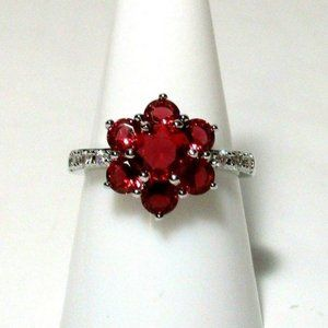 Ring size 9 Simulated Ruby Diamond Flower 577